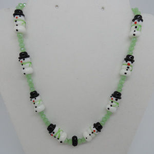 "18"" Snowmen and lite green Necklace"